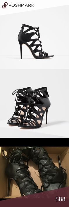 Zara leather lace up sandal Lace-up leather sandals with stiletto heel. Black. Asymmetric opening detail at the sides with braided leather cords. Zip and pull-tab closure at the back.  Heel height of 10.7 cm. ZARA EUR 40 US 9 & ZARA EUR 37 US 6.5 Colour: Black Zara Shoes Sandals