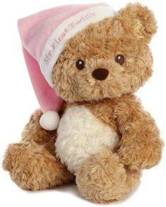 There are two things that all babies love, teddy bears & hats. Enter the Baby Safe My First Teddy Bear with Pink Hat by Aurora, a baby's dream. Teddy Bear Pictures, Bear Wallpaper, Bear Design, Cute Teddy Bears, Cute Plush, Pink Hat, Cute Icons, Cute Stickers, Plushies