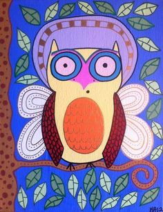 Kerri Ambrosino Original Art Angel Owl in The by kerriambrosino, $30.00