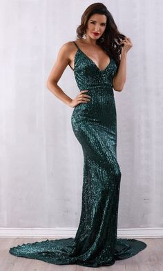 0d2526c702c5 Stealing Hearts Emerald Green Sequin Sleeveless Spaghetti Strap Plunge V  Neck Backless Mermaid Maxi Dress