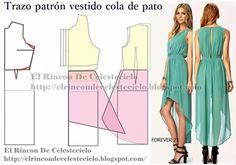 Patrón vestido cola de pato y modelo del vestido