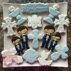 Boy Baptism & First Communion Cookies Primera Comunion