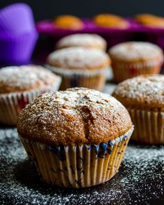 Very healthy apple muffins with whole wheat flour and little olive oil. These are so fluffy! | www.giverecipe.com | #muffin #apple #wholewheatflour