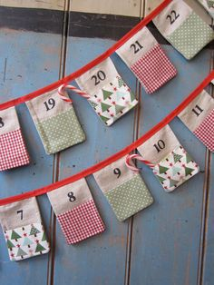 Christmas Advent Bunting. Colours Red White by buntingboutique Nursery Bunting, Handmade Ornaments, Red Color, Color Mixing, Gingham, Advent, Sage, Wedding Gifts, Red And White