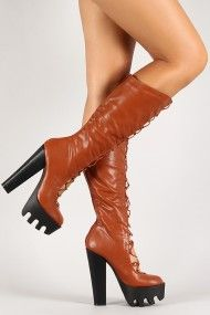 Leatherette Corset Lug Sole Knee High Boot #UrbanOG. I can see these Boots in Black with the Red Riding Hood Costume
