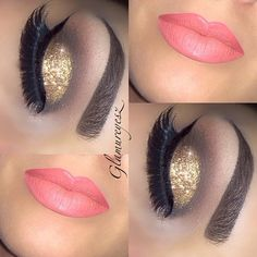 Weekend Glam. Gold Glitter and Coral Lips