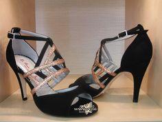Item Claudia, Sole Vero Cuoio, Materials Suede, Glitter fabric, Toe Open, Back Closed, Colors Black&Gold, Heel Shape Stiletto