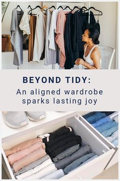 """We love Marie Kondo's method for tidying up. It's started people asking questions and reassessing their relationships with stuff. But we also feel there's a few important things missing from the """"spark joy"""" method. Wardrobe Planner, Textile Recycling, Sparks Joy, Konmari Method, Small Wardrobe, Marie Kondo, Minimalist Lifestyle, Tidy Up, Aesthetic Fashion"""