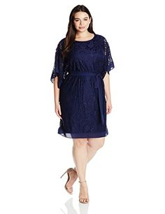 AGB Womens PlusSize Kimono Butterfly Sleeve Soft Lace Dress Ink 18W * Click on the image for additional details.
