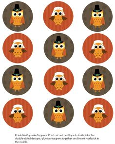 9 Turkey Cupcakes Topper Free Print Photo - Free Thanksgiving Printable Cupcake Toppers, Free Thanksgiving Printable Cupcake Toppers and Free Printable Owl Cupcake Toppers Thanksgiving Food Crafts, Free Thanksgiving Printables, Fall Crafts, Thanksgiving Cupcakes, Free Printables, Turkey Cupcakes, Owl Cupcakes, Bottle Cap Images, Bottle Caps
