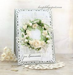 Hello everyone   Today I'd like to share with you a First Communion card. I stamped a wreath in green and then adhered the wreath made of W...