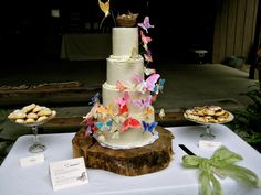 DIY Wedding Cake advice + butterflies in action (on wood pedestal)