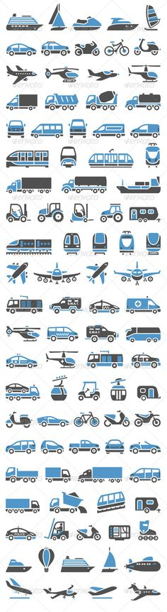 93 Transport Icons Set #GraphicRiver 93 Transport icons set bicolor (blue and gray colors) • These are editable vector files • Available RGB color • Can be used in your web design and or for your site Attached ZIP folder contains: • EPS vector file is saved in file format EPS v. 8 • AI (Illustrator CS4) • PSD (layered) • CDR v.10 • JPG image has high resolution 2222×8121 pixels • SVG • PDF