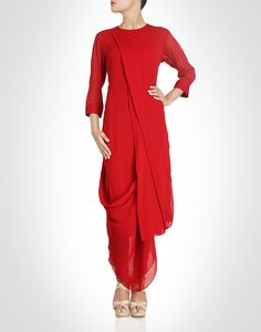 Draped asymmetrical tunic. Shop Now: www.kimaya.in
