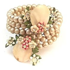 Antiques Amazing Rare Bracelet Signed Miriam Haskell Wide Pearl Cuff Crystals Rhinestones