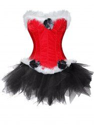 fcd891bf09 Christmas Santa Claus Two Piece Corset Dress