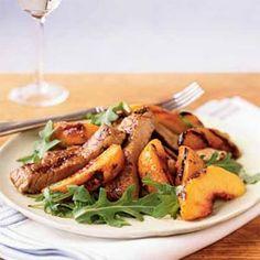 Grilled Peaches and Pork   MyRecipes.com