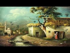 Oil Painting Landscape Egyptian Village By 4 Colors With Yasser Fayad - YouTube