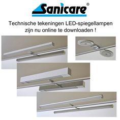 Technische tekeningen Sanicare LED-spiegellampen staan nu online op www.sanicare.nl !