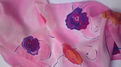 Silk scarf with roses on delicate pink background. Hand painted by SilkAgathe.