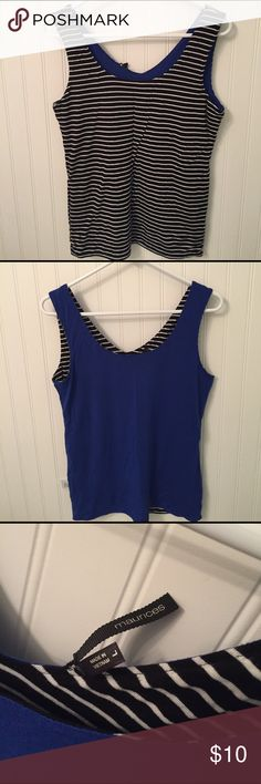 Reversible cotton tank!  On trend stripes. Black/white and blue-so cute and useful!  I washed this, but never wore as it was too small for me. Size large in Maurice's brand. Maurices Tops Tank Tops