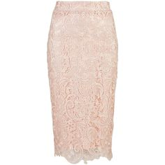 Zibi London Lace Pencil Skirt (775 MXN) ❤ liked on Polyvore featuring skirts, pink, women, pink lace skirt, lace skirt, lacy skirt, pencil skirt and knee length lace skirt