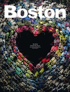 great mag cover for boston mag after the marathon. Boston design director Brian Struble used running shoes worn in Boston marathon to create this image. Photograph by Mitch Feinberg. Design Editorial, Magazin Covers, Magazin Design, Web Design, Layout Design, Creative Design, Shape Design, Food Design, Event Design