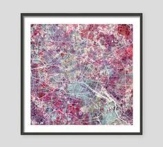BERLIN Map, Watercolor painting, Germany, Giclee Fine Art, Modern Abstract, Poster Print, Wall Art, Home Decor, Decoration