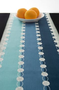 Geometric Blue Green Turquoise Table Runner By TheFabricAffair