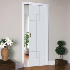 Single Pocket Fortune White sliding door system in three size widths. #moderndoor #pocketdoor #contemporarypocketdoor