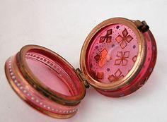 Antique Pale Cranberry Bohemiam Glass Trinket Box Moser   eBay