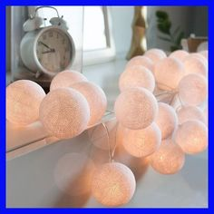 Meaningsfull 3M 20 Globes Handmade White Cotton Ball String Lights Battery Power Garland Holiday Lights Party Wedding Home Decor