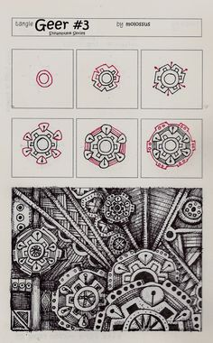 Life Imitates Doodles: New tangle patterns 'Geer No. Two' and 'Geer No. Three' - Steampunk Series