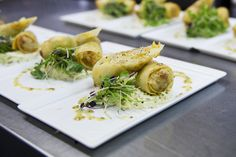Hot starters for winter months - Confit apple and pork spring roll, salad of celeriac and grain mustard