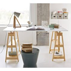 With light and elegant lines, this solid pine desk, inspired by contemporary Scandinavian design, is very practical with trestles that can be used as. Office Set, Office Workspace, Home Office Design, Home Office Decor, Home Decor, Hack Ikea, Ikea Linnmon, Trestle Desk, Student Room