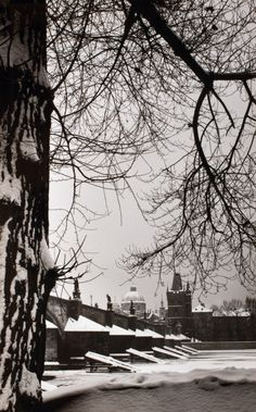 Winter in Prague, Karel Plicka. Prague Winter, Heart Of Europe, Old Photography, Gelatin Silver Print, Photomontage, Czech Republic, Vintage Images, Black And White Photography, Retro