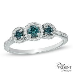 0.45 CT. T.W. Enhanced Blue and White Diamond Three Stone Past Present Future Ring in 10K White Gold  - Peoples Jewellers