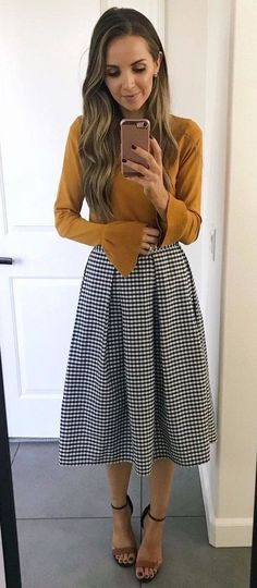 #fall #outfits women's brown trumpet sleeve top and black and white tattersal midi skirt