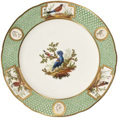 "Pheasant Indies Dinner plate service ""green dotted background, Buffon and antique heads birds"" Manufacture de Sèvres, about 1784"