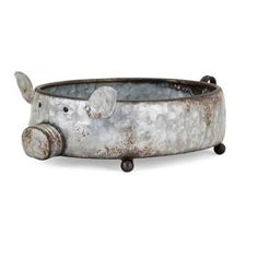 Made of galvanized metal, this clever piggy planter can be filled with your favorite herb and blooms, or used as a creative decorative tray. Features: Outdoor Safe: No Base Included: Yes Plant Type: Silk Plants Fire Pit Area, Fire Pit Patio, Silk Plants, Enjoy Summer, Galvanized Metal, Decoration, Amazing Gardens, Garden Design, Iron