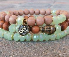 Set of 3 Yoga bracelets, Om, Buddha, wrist mala set. Meditation mala set, yoga set, boho set, , Reiki Charged, free shipping
