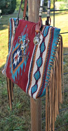 Saddle blanket bag with hand cut fringe and horse rein handles! $150