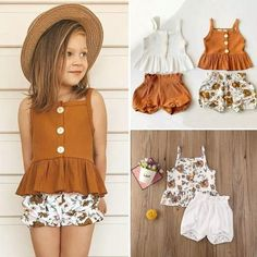 The basket Baby – Basket Baby Girls Summer Outfits, Short Outfits, Summer Girls, Kids Girls, Kids Outfits, Summer Clothes, Manga Floral, Fashion Kids, Baby Girl Tops