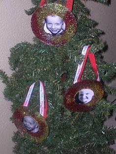 CD Ornaments-  old cd, glitter, ribbon, kid pics! :)