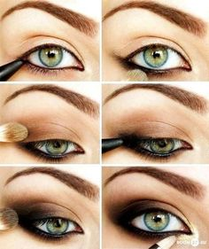 how to make smoky eyes. Looks like you add eyeliner around entire eye. Add light brown to eye lid. Add darker brown to base of eye and add darker brown eye shadow. And just in general make heavier towards outer end of the eye.