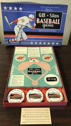 Vintage All Star Baseball Board Game Ethan Allen Dated 1921 w/ 40 Discs Scrabble Board Game, Vintage Board Games, Game Sales, Baseball Games, Ethan Allen, Game 1, Old Toys, Game Night, Trading Cards