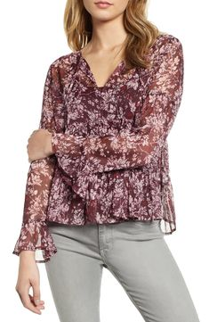 $53.7. LUCKY BRAND Top Bell Sleeve Printed Top #luckybrand #top #clothing Lucky Brand Tops, Floral Tops, Cute Outfits, Feminine, Tunic Tops, Long Sleeve, Sleeves, How To Wear, Clothes