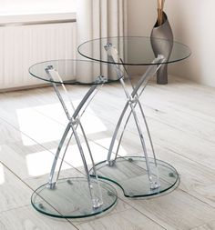 Furniture Luna Modern Clear Glass Acrylic 2-Piece Nesting Table Living Room   #living room #furniture #clear #glass #table
