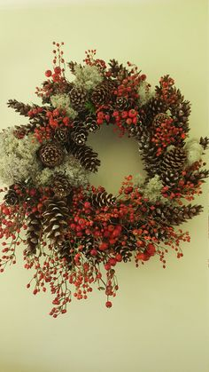 Fresh Rose hip Moss and Pinecone Wreath