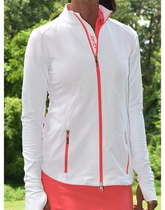 Tequila Sunrise JoFit Ladies & Plus Size Tipped Thumbs Up Coral Glow Golf/Tennis Jackets at #lorisgolfshoppe